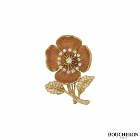 Boucheron Diamond and Enamel Eglantine Brooch c.1960